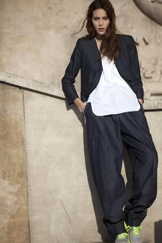 Spring 2013 Trend: Go With the Flow (Christophe Lemaire's cotton denim pantsuit and cotton tank.)  [Photo by Franck Mura]