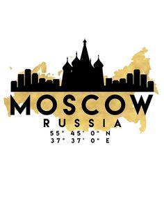 « MOSCOU RUSSIE SILHOUETTE SKYLINE MAP ART » par deificusArt   Redbubble
