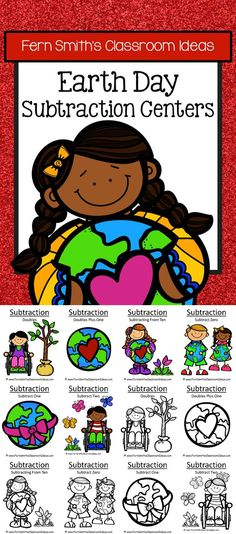 Earth Day Subtraction Centers, Printable Seatwork Centers and Interactive Notebook Activities with six different subtraction strategies which can be mixed and matched for endless combinations. PERFECT for a Family Math Night! Six Different Strategies 1. Subtraction Doubles 2. Subtraction Doubles Plus One 3. Subtracting From Ten 4. Subtract Zero 5. Subtract One 6. Subtract Two #TPT $Paid