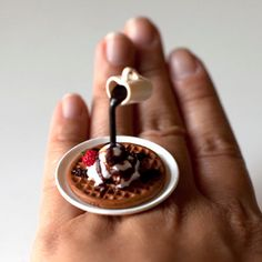 Japanese Miniature Food Floating Ring - Waffle Whip Cream Chocolate by Etsy user fingerfooddelight.