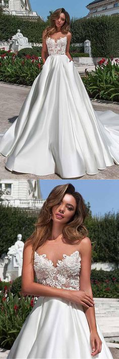 Satin Neckline A-line Wedding Dress With Pockets Lace Appliques WD213#stain #weddingdress #Aline