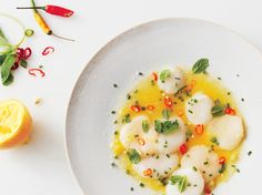 Scallop Crudo Recipe by Jean-Georges Vongerichten and Dan Kluger of  ABC Kitchen, New York | Epicurious.com Shrimp Recipes, Fish Recipes, Raw Food Recipes, Appetizer Recipes, Cooking Recipes, Healthy Recipes, Clam Recipes, Seafood Appetizers, Shrimp Meals