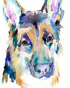 Print of Watercolor Painting German Shepherd 8 by ArtbyJessBuhman