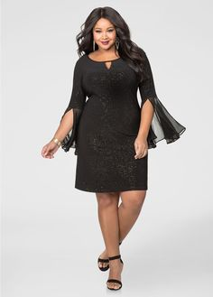 ecc01cab1a5a Speckled Metallic Bell Sleeve Dress-Plus Size Dresses-Ashley Stewart
