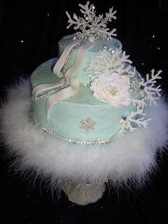 Snowy Winter Birthday Cake