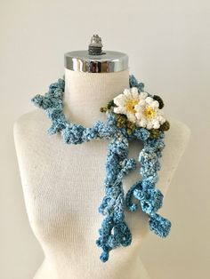 Blue Daisy vine Scarf, READY to SHIP, Blue Floral scarf, elegant accent scarf, Womans scarf, hand painted merino wool by ValerieBaberDesigns on Etsy