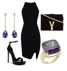 Black Amethyst by tres-chic-geek on Polyvore featuring polyvore, moda, style, Elizabeth and James, Yves Saint Laurent, Other, fashion and clothing