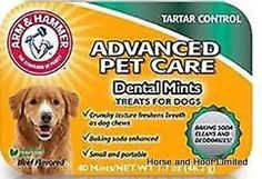 Arm Hammer Dental Dog Mints x 40 Say bye-bye doggie breath and treat your dog to a daily Dental Mint The crunchy texture of each mint helps to  freshen breath, whiten teeth and reduce tartar.