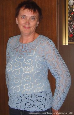 Beautiful sirloin pullover !!!. Discussion on LiveInternet - Russian Online Diary Service Russian Online, Online Diary, Shell Tops, Crochet Top, Crochet Tutorials, Pullover, Long Sleeve, Sleeves, Beautiful