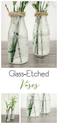 DIY Glass-Etched Vases- Upcycle some old milk bottles or glass containers . - DIY Glass-Etched Vases- Upcycle some old milk bottles or glass containers into these beautiful and - Old Milk Bottles, Recycled Glass Bottles, Glass Bottle Crafts, Diy Bottle, Bottle Art, Decorative Glass Bottles, Crafts With Glass Bottles, Recycled Bottles, Milk Jars