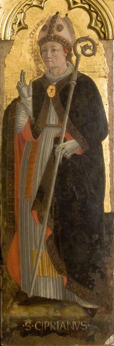 Girolamo di Giovanni - San Cipriano, dettaglio Polittico di Monte San Martino - 1473 - Chiesa di San Martino vescovo, Monte San Martino, in provincia di Macerata.