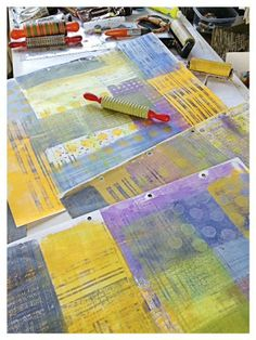 Dudley Redhead: Gelli plate printing plus cut and paste. ...playing with new tools - textured rolling pins i picked a colour palette with the aim of covering up all the white space.