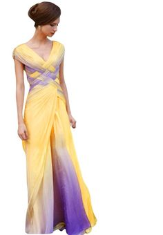 Two Tone Pleated Prom Dress In Yellow And Purple 150