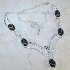 Exquisite Sterling Silver .925 Multiple Gemstone Necklace #X6557 $29.95
