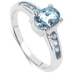 1.15 Carat Genuine Aquamarine Oval  Round shape Sterling Silver Ring -