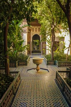 Photo about Bahia Palace. inner yard and fountain . Image of fountain, carved, africa - 95199329 Spanish Courtyard, Courtyard House, Islamic Architecture, Beautiful Architecture, Moroccan Design, Interior Garden, Spanish House, Traditional Landscape, Marrakesh