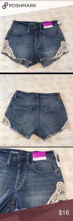 HIGH RISE SHORTS NWT These high rise shorts are a cute light denim with crochet detailing at the bottom. All pockets are functional and the shorts have no defects. The material has super stretch for extra comfort! Price may be negotiated. Perfect for a christmas gift 🎁 Please comment with any questions and happy poshing! 😃 Mossimo Supply Co Shorts Jean Shorts