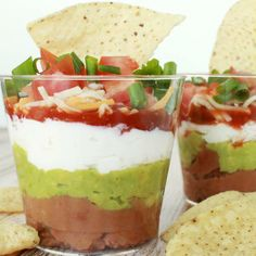 Individual 7 Layer Dips // how cute would these be at a party?