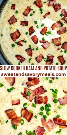 Slow Cooker Ham and Potato Soup is hearty, creamy, and very comforting #sweetandsavorymeals #slowcookerhamandpotatosoup #soup #slowcooker #hamandpotatosoup