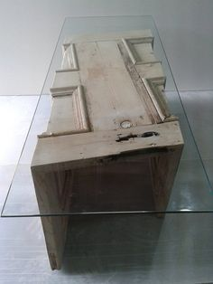 Upcycled reclaimed Glass top Coffee Table made from old Georgian door. on Etsy, $681.74