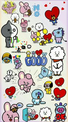 New Drawing Cute Bts Ideas Bts Chibi, Bts Lockscreen, Bts Bangtan Boy, Bts Jimin, Bts Backgrounds, Line Friends, Bts Drawings, Bts Fans, I Love Bts