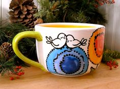 Large Rainbow Flower Soup Mug - 24 oz HandMade Painted Poppy Garden & Birds Wheel Thrown Pottery - Latte, Cappuccino, Coffee, Tea, Soup Cup via Etsy