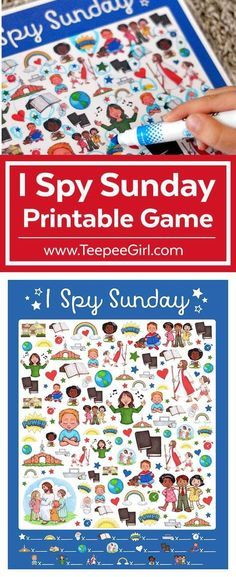 This free I Spy Sunday printable game is perfect for church, Sunday School, primary, and family home evening! If you are looking for a great way to help kids get through church, this game is perfect! Just print and laminate fur use over and over again! Sunday Activities, Sunday School Activities, Bible Activities, Church Activities, Bible Games, General Conference Activities For Kids, Kids Church Games, Preschool Sunday School Lessons, Kids Church Lessons