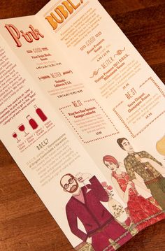 Zizzi Wine Menu Art Direction: Tobias HallDesign/Hand lettering: Tobias HallCharacter illustrations: Laura Callaghan
