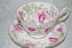 ROYAL CHELSEA Vintage Bone China Teacup and Saucer / floral pattern / Vintage Tea Party / Shabby Chic Decor