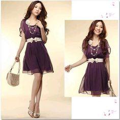 #Valentines #AdoreWe #TomTop - #generic Fashion Women Lady Chiffon Dress Short Sleeve Crew Neck Casual Mini Dress Cocktail Summer Purple - AdoreWe.com