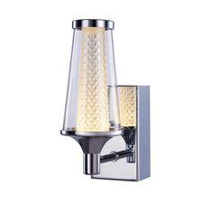 Aura single led ip44 rated wall light - chrome