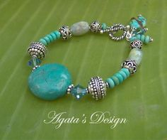 Turquoise Aquamarine Swarovski Crystals Sterling Silver Bracelet