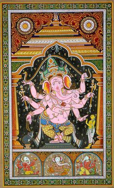 Eight-Armed Pink Dancing Ganesha Ancient Indian Art, Indian Folk Art, Kalamkari Painting, Madhubani Painting, Dancing Ganesha, Lord Ganesha Paintings, Digital Art Fantasy, Madhubani Art, Yoga Art