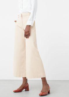 Pantalón palazzo crop - Pantalones de Mujer | MANGO España