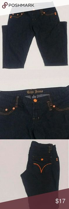 Straight Leg Denim Pants By Vega Jeans *Vega Jeans Size 9  *Straight leg jeans  *78% Cotton,  20% Polyester,  1.5% Spandex  *Blue Denim color with orange accents  *Two Front & Two Back Pockets   *Back pockets button  *In good condition   *Machine Washable Vega Jeans Pants Straight Leg