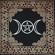Triple Moon Pentagram altar/tarot