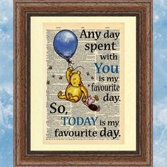 MOUNTED Winnie the Pooh Dictionary book page inspirational quotation. Nursery wall art vintage book sheet print. Wall hanging baby printing.