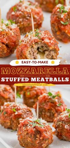 These Easy Mozzarella Stuffed Meatballs are the perfect 4th of July appetizer recipe! It is stuffed with mozzarella cheese and baked to perfection. They are then simmered in an easy homemade tomato… Easy Delicious Recipes, Easy Dinner Recipes, Tasty, Yummy Food, Easy Meals, Appetizers For A Crowd, Yummy Appetizers, Appetizer Recipes, Mozzarella Stuffed Meatballs