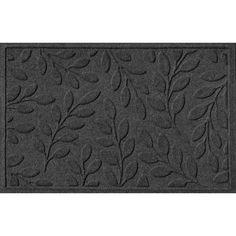 WaterGuard Brittany Leaf Indoor Outdoor Mat, Dark Grey