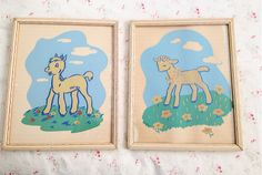 Vintage 1940's Nursery Pictures in Frames by iloveluci on Etsy, $40.00