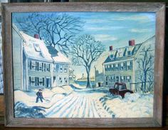 Folksy 1930s-1940s Winter Scene Painting by R. Nason (Salem, Massachusetts?)
