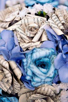 Custom Paper Flower Wedding Bouquet  I love this! For the bouquet I toss, and maybe the bridespeople, too?