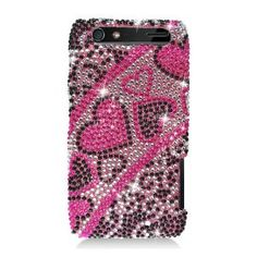 MetroPhones.co For Motorola Droid Razr Xt912 Full Diamond Case Heart Pinkblack: Cell Phones & Accessories