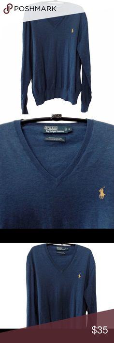 Ralph Lauren NWOT superfine Pima Cotton sweater Heather blue color with yellow pony. NWOT Ralph Lauren Sweaters V-Necks