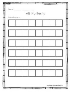 This activity allows students to practice AB patterning in different ways.Students can use bingo dabbers, stickers, markers, crayons, etc to make AB patterns and then cut & paste to complete the pattern.