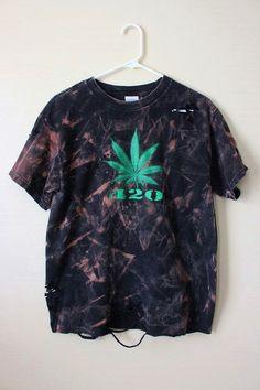 3216ee4cc4e68 Splatter Bleached and Shredded 420 Pot Leaf T Shirt Medium · Marijuana  LeavesRave OutfitsGas ...