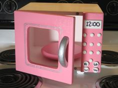 Toy All Wood Microwave Just Right Size Pink/White/ - Kinderkuche Diy Pappe Cardboard Kitchen, Cardboard Crafts, Cardboard Playhouse, Diy Play Kitchen, Toy Kitchen, Barbie Furniture, Kids Furniture, Cardboard Furniture, Furniture Design