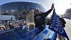 Kansas City Royals manager Ned Yost waved to the crowd during Tuesday's parade on November 3, 2015 in Kansas City to celebrate winning the World Series.