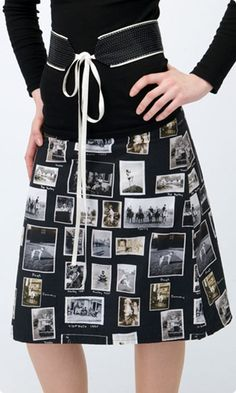 A skirt made from fabric which has old photos printed on it.  (For inspiration)