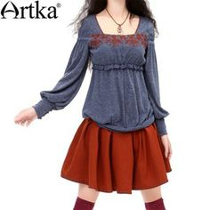 Artka Color Block Embroidery Lantern Sleeve Sailor Collar Elastic Loose Knitted Shirt ZA10037Q